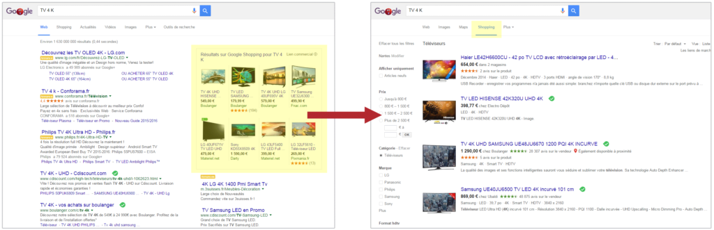 Capture d'écran des interfaces de Google Shopping