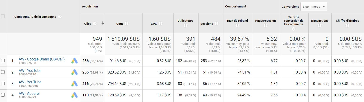 Google Analytics : google ads